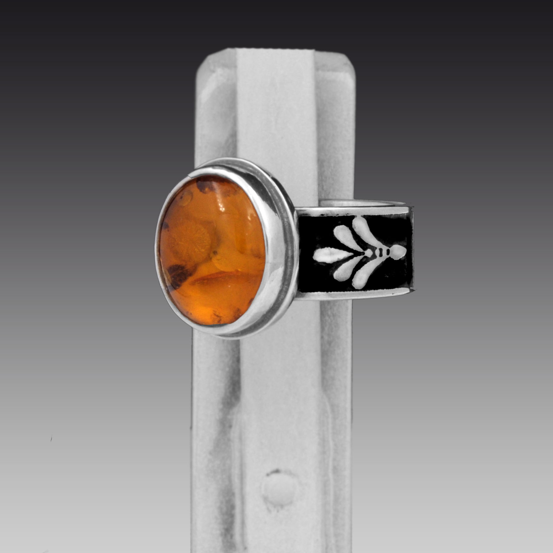 Baltic Amber Ring, Size 5 ½,  935 Argentium Sterling Silver, Baltic Amber,  Handcrafted Art Deco Design by Two Silversmiths